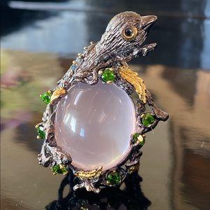 Masterpiece 30CT Genuine Rose Quartz Ring
